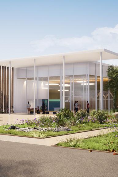 Golhen Architecte - Equipement culturel communautaire - La Suze sur Sarthe - Perspective Extèrieure