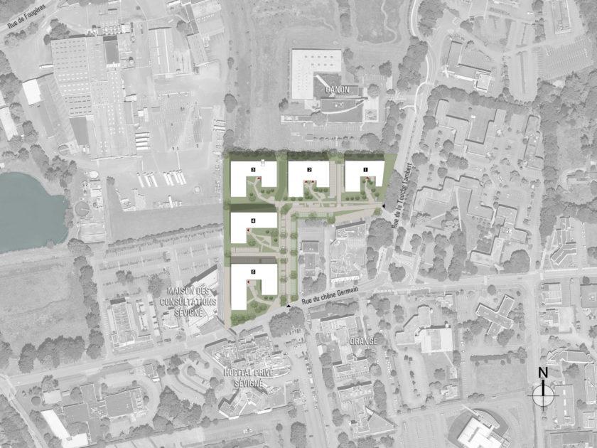 Golhen Associés - Caisse d'Epargne - Cesson-Sévigné - Plan Masse2